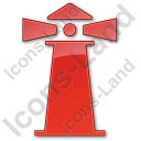 Lighthouse Plain Red Icon, PNG/ICO, 128x128