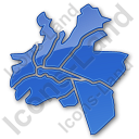 Map District Plain Blue Icon, PNG/ICO, 128x128