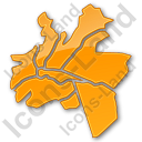 Map District Plain Orange Icon, PNG/ICO, 128x128