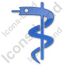 Medicine Rod Of Asclepius Plain Blue Icon, PNG/ICO, 128x128