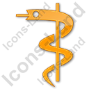Medicine Rod Of Asclepius Plain Orange Icon, PNG/ICO, 128x128