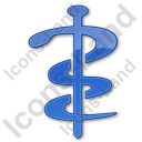 Physician Rod Of Asclepius Plain Blue Icon, PNG/ICO, 128x128