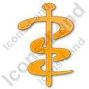 Physician Rod Of Asclepius Plain Orange Icon, PNG/ICO, 128x128