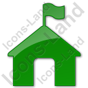 Ranger Station Plain Green Icon, PNG/ICO, 128x128