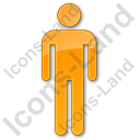 Restroom Men Plain Orange Icon, PNG/ICO, 128x128