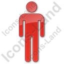 Restroom Men Plain Red Icon, PNG/ICO, 128x128