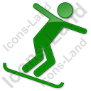 Snowboarding Plain Green Icon, PNG/ICO, 128x128