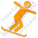 Snowboarding Plain Orange Icon