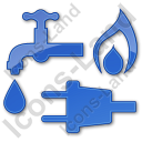 Water Gas Electricity Plain Blue Icon, PNG/ICO, 128x128