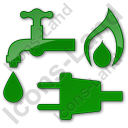 Water Gas Electricity Plain Green Icon