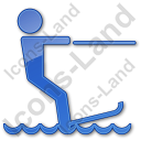 Waterskiing Plain Blue Icon, PNG/ICO, 128x128