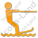 Waterskiing Plain Orange Icon, PNG/ICO, 128x128