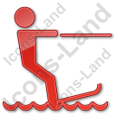 Waterskiing Plain Red Icon, PNG/ICO, 128x128