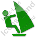 Windsurfing Plain Green Icon, PNG/ICO, 128x128