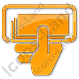 ATM Money In Hand Plain Orange Icon, PNG/ICO, 256x256