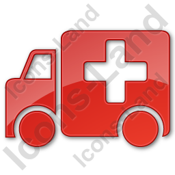 Ambulance Plain Red Icon, PNG/ICO, 256x256