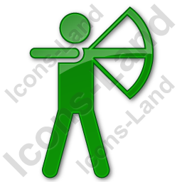 Archery Plain Green Icon, PNG/ICO, 256x256