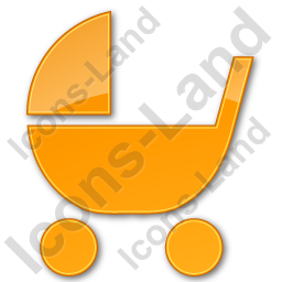 Baby Carriage Plain Orange Icon, PNG/ICO, 256x256