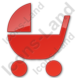 Baby Carriage Plain Red Icon