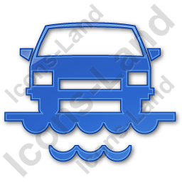 Car Ferry Plain Blue Icon