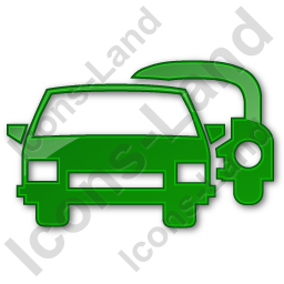 Car Rental Service Plain Green Icon, PNG/ICO, 256x256