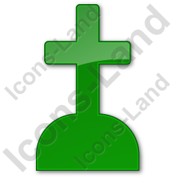 Cemetery Cross Plain Green Icon