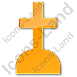Cemetery Cross Plain Orange Icon
