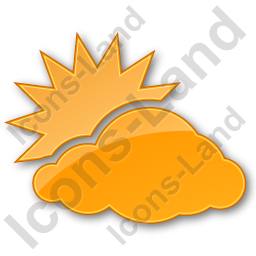 Cloudy Partly Plain Orange Icon, PNG/ICO, 256x256