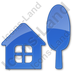 Cottage Plain Blue Icon, PNG/ICO, 256x256