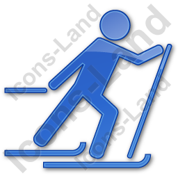 Cross Country Skiing Plain Blue Icon