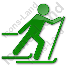 Cross Country Skiing Plain Green Icon, PNG/ICO, 256x256