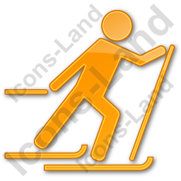 Cross Country Skiing Plain Orange Icon, PNG/ICO, 256x256
