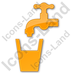 Drinking Water Tap Plain Orange Icon, PNG/ICO, 256x256