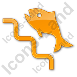 Fish Ladder Plain Orange Icon, PNG/ICO, 256x256