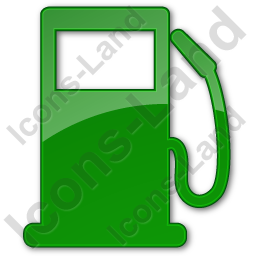 Gas Station Plain Green Icon