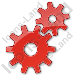 Gears Plain Red Icon, PNG/ICO, 256x256