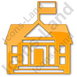 Government Facility Plain Orange Icon, PNG/ICO, 256x256