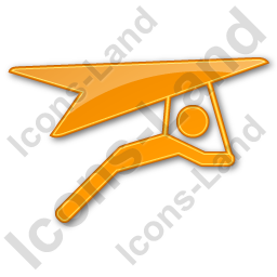 Hang Gliding Plain Orange Icon