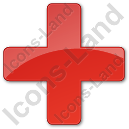 Hospital Cross Plain Red Icon, PNG/ICO, 256x256
