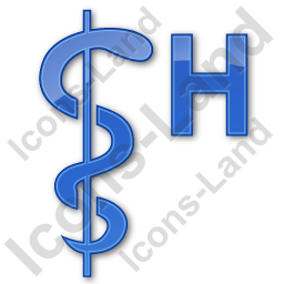 Hospital Rod Of Asclepius Plain Blue Icon, PNG/ICO, 256x256