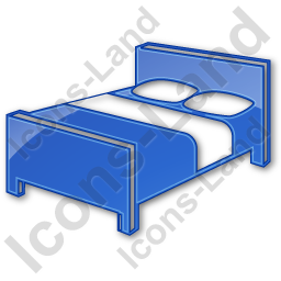 Hotel Bed 3D Plain Blue Icon