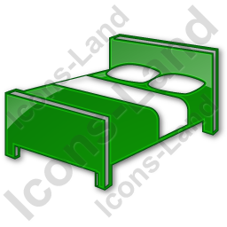 Hotel Bed 3D Plain Green Icon, PNG/ICO, 256x256