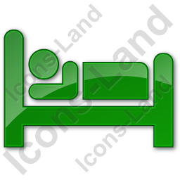 Hotel Bed Plain Green Icon