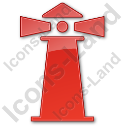 Lighthouse Plain Red Icon, PNG/ICO, 256x256