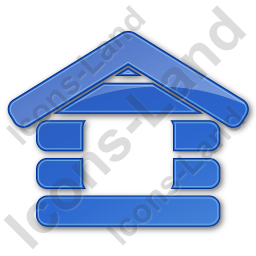 Log Cabin Plain Blue Icon