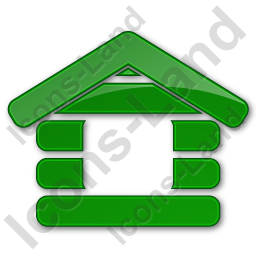 Log Cabin Plain Green Icon