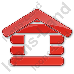 Log Cabin Plain Red Icon