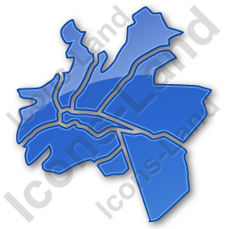 Map District Plain Blue Icon