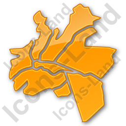 Map District Plain Orange Icon, PNG/ICO, 256x256