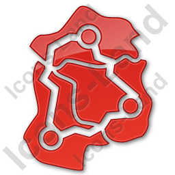 Map Roads Plain Red Icon